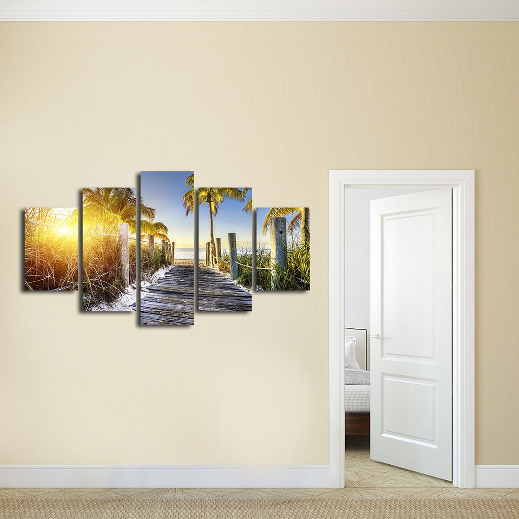 key west walkway multi panel canvas wall art elephantstock. Black Bedroom Furniture Sets. Home Design Ideas