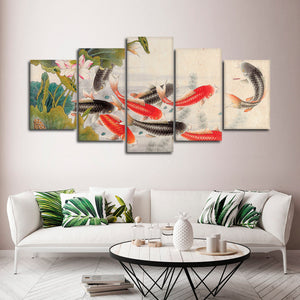 Koi Pond Multi Panel Canvas Wall Art - Asian