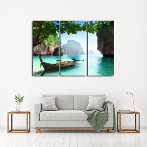 Krabi Islands Multi Panel Canvas Wall Art - Boat