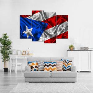 Waving Puerto Rico Flag Multi Panel Canvas Wall Art - Flag