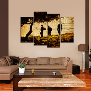 Troops in Afghanistan Multi Panel Canvas Wall Art - Army