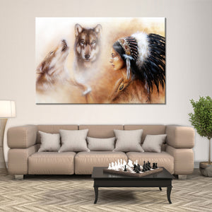 Cherokee Wolf Multi Panel Canvas Wall Art - Native_american