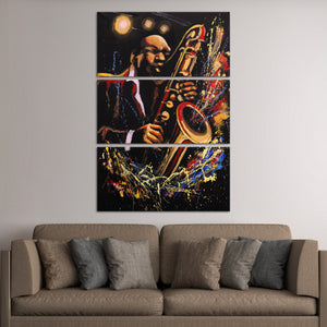 Jazz Saxophone Player Multi Panel Canvas Wall Art - Jazz