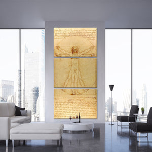 The Vitruvian Man Multi Panel Canvas Wall Art - Classic_art