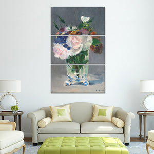 Flowers in a Crystal Vase Multi Panel Canvas Wall Art - Flower
