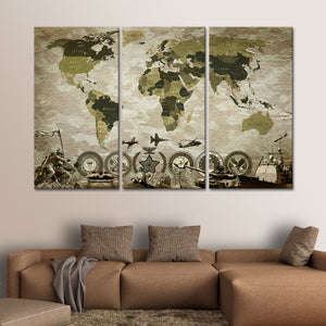 Camouflage World Map Masterpiece Multi Panel Canvas Wall Art - Army