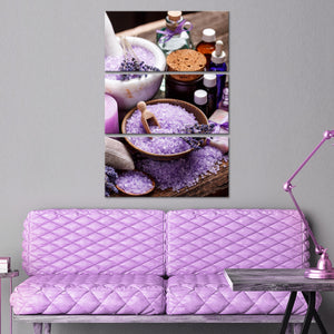 Lavender Relaxing Bath Multi Panel Canvas Wall Art - Spa
