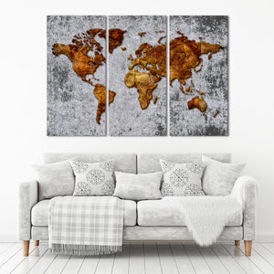 3D Antique World Map Multi Panel Canvas Wall Art - World_map