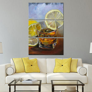 Whiskey With Lemon Wedge Multi Panel Canvas Wall Art - Whiskey