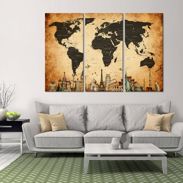 Vintage World Map Masterpiece Multi Panel Canvas Wall Art