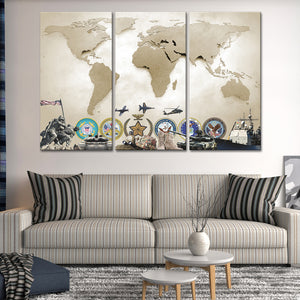 Army World Map Masterpiece Multi Panel Canvas Wall Art - Army