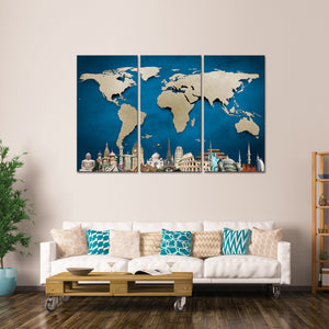 Ocean Blue World Map Masterpiece Multi Panel Canvas Wall Art - World_map