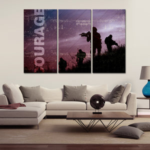 Courage Multi Panel Canvas Wall Art - Army