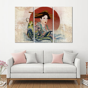 Graceful Koi And Geisha Multi Panel Canvas Wall Art - Graffiti