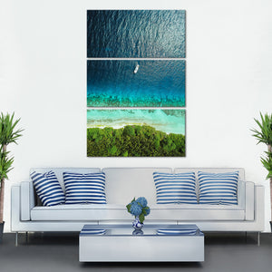 Lone Boat Within Sea Multi Panel Canvas Wall Art - Aerial