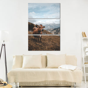 Roaming Cow Multi Panel Canvas Wall Art - Animals