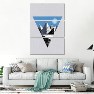 Blue Triangle Mountains Multi Panel Canvas Wall Art - Geometric