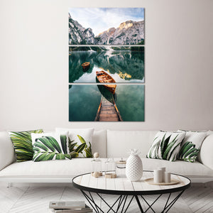 Braies Lake Boats Multi Panel Canvas Wall Art - Boat
