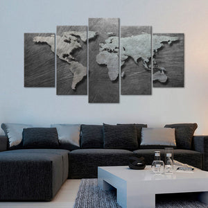 3D Steel World Map Multi Panel Canvas Wall Art - World_map