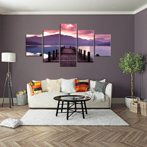 Morning at the Pier Multi Panel Canvas Wall Art - Beach