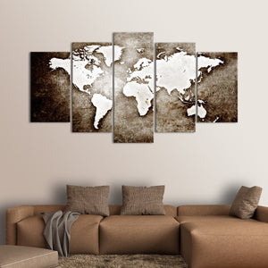 Textured Grunge World Map Multi Panel Canvas Wall Art - World_map