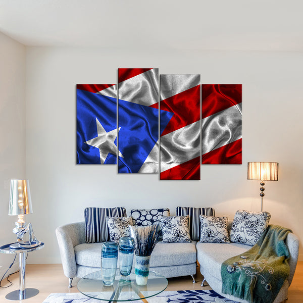 Waving Puerto Rico Flag Multi Panel Canvas Wall Art