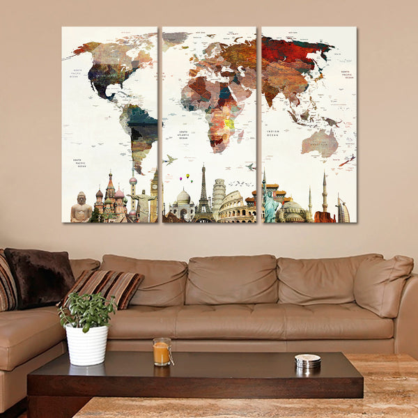 Colorful Stains World Map Masterpiece Multi Panel Canvas Wall Art