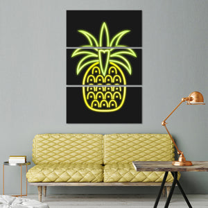 Neon Pineapple Multi Panel Canvas Wall Art - Pineapple
