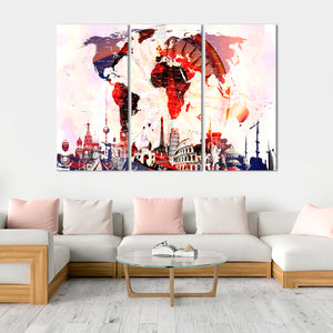Compass World Map Masterpiece Multi Panel Canvas Wall Art - World_map