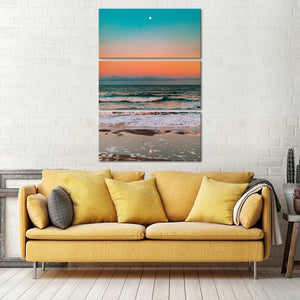 Sunset Elegance With Tides Multi Panel Canvas Wall Art - Beach