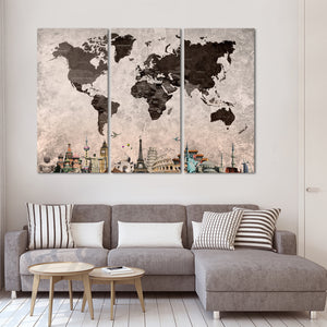 Shades Of Grey World Map Masterpiece Multi Panel Canvas Wall Art - World_map