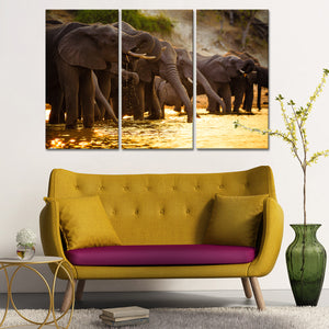 Elephants in Savanna Multi Panel Canvas Wall Art - Elephant