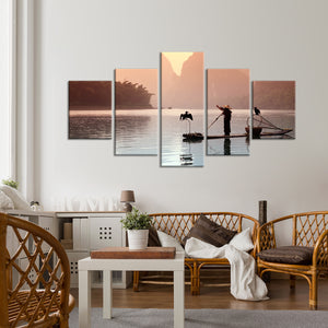 Chinese  Fisherman Multi Panel Canvas Wall Art - Boat