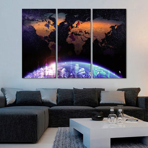 Galaxy World Map Masterpiece Multi Panel Canvas Wall Art - World_map