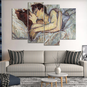 In Bed The Kiss Multi Panel Canvas Wall Art - Classic_art
