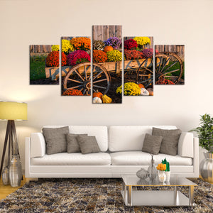Colorful Flowers Multi Panel Canvas Wall Art - Flower