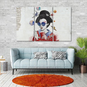 Hipster Geisha Graffiti Multi Panel Canvas Wall Art - Graffiti