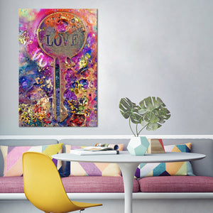 Love Is Key Multi Panel Canvas Wall Art - Relationship