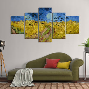 Wheatfield with Crows Multi Panel Canvas Wall Art - Classic_art