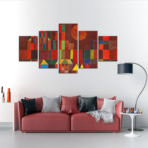 Castle and Sun Multi Panel Canvas Wall Art - Classic_art