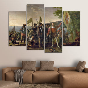 Landing Of Christopher Columbus Multi Panel Canvas Wall Art - Classic_art