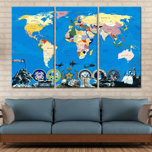 Armed Forces World Map Masterpiece Multi Panel Canvas Wall Art - Army