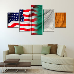 USA And Ireland Flag Multi Panel Canvas Wall Art - Flag
