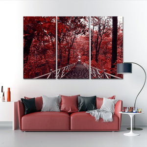 Red Walkway Multi Panel Canvas Wall Art - Gothic