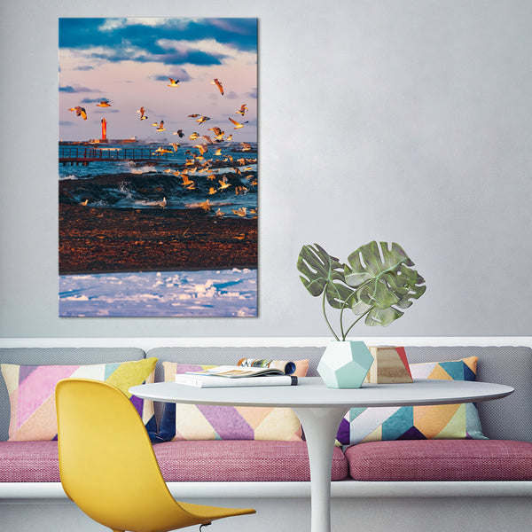 Flying Seagulls Multi Panel Canvas Wall Art