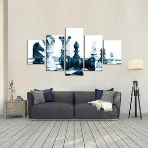 Rustic Chess Multi Panel Canvas Wall Art - Chess