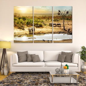 Elephant Painting Multi Panel Canvas Wall Art - Elephant