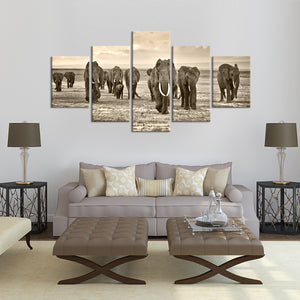 Herd of Elephants Multi Panel Canvas Wall Art - Elephant