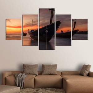 Boats At Sunset Multi Panel Canvas Wall Art - Boat