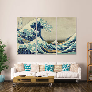 The Great Wave Off Kanagawa Multi Panel Canvas Wall Art - Classic_art